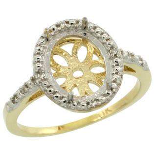 Sabrina Silver 10k Yellow Gold Semi-Mount Ring ( 10x8 mm ) Oval Stone & 0.022 ct Diamond Accent, sizes 5 ...