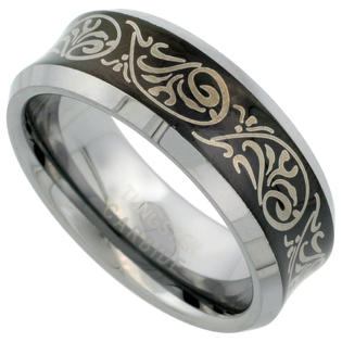 Sabrina Silver 8mm Black Tungsten 900 Wedding Ring Concave Etched Tribal Pattern Beveled Edges Comfort fit, sizes 7 - 14 ...
