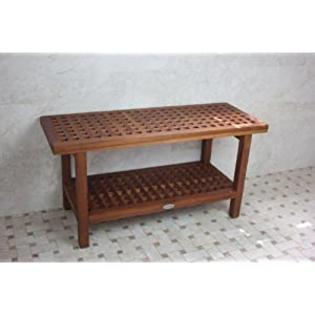 AquaTeak 36 Inch Teak Grate Shower Outdoor Bench with Shelf at Sears.com