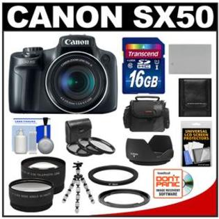 Canon PowerShot SX50 HS Digital Camera (Black) with 16GB Card + Case + Battery + Tripod + 2 Tele/Wide Lens Set + 3 Filters + Hood Kit at Sears.com