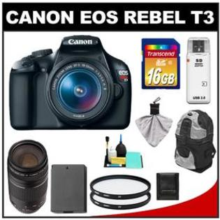 Canon EOS Rebel T3 Camera + EF-S 18-55 IS II Lens + 75-300 III Lens + 16GB Card + Battery + Backpack Case + 2 Filters + Clean Kit at Sears.com