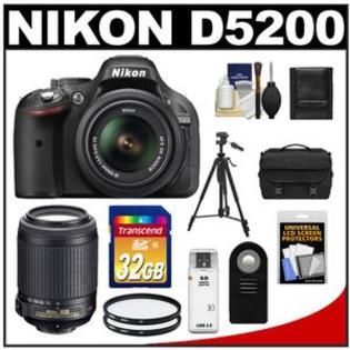 Nikon D5200 Camera + 18-55 G VR DX AF-S Zoom Lens  + 55-200 VR Lens + 32GB Card + Case + Filters + Remote + Tripod + Acc Kit at Sears.com