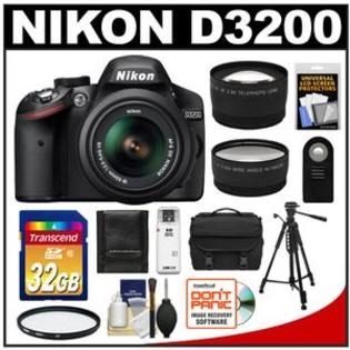 Nikon D3200 Digital SLR Camera + 18-55 VR DX AF-S Zoom Lens  -Factory Refurbished + 32GB Card + Case + Tripod + 2 Lens Set + Acc Kit at Sears.com