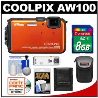 Nikon Coolpix AW100 Shock + Waterproof GPS Digital Camera (Orange) - Factory Refurbished with 8GB Card + Accessory Kit at Sears.com