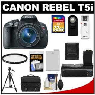 Canon EOS Rebel T5i Camera + EF-S 18-55 IS STM Lens + 32GB Card + Battery + Case + BG-E8 Grip + Filter + Remote + Tripod + Acc Kit at Sears.com