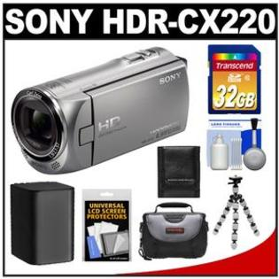 Sony Handycam HDR-CX220 1080p HD Video Camera Camcorder (Silver) with 32GB Card + Battery + Case + Flex Tripod + Accessory Kit at Sears.com