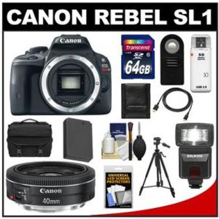 Canon EOS Rebel SL1 Digital SLR Camera Body with EF 40mm f/2.8 STM Lens + 64GB Card + Battery + Case + Flash + Remote + Tripod Kit at Sears.com