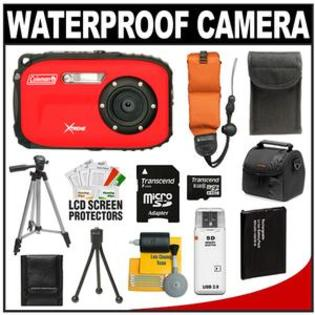 Coleman Xtreme C5WP Shock + Waterproof Digital Camera (Red) + 8GB Card + Battery + Floating Strap + (2) Cases + Tripod + Accessory Kit at Sears.com