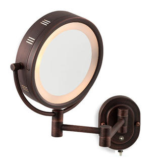 "Jerdon Mirrors Jerdon 8"" Oil Rubbed Bronze Finish Dual Sided Surround Light Wall Mount Makeup Mirror at Sears.com"