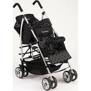 Kinderwagon Kinderwagon BLACK Hop Double Child Stroller w/ Canopy