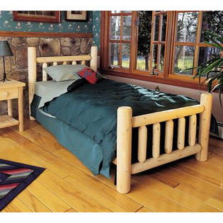 "Eco-Friendly Furnishings 82"" Cedar Log-Style Handcrafted Wooden King Bed Frame at Sears.com"