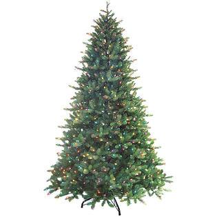 Santa's Best 7.5' Just Cut Douglas Fir Pre-Lit Artificial Christmas Tree - Multi Lights