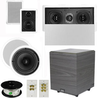 "Theater Solutions 5.1 Home Theater 4 Speakers Set with Center, 8"" Powered Sub and More TS5W6CL51SET2 at Sears.com"