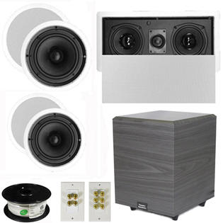 "Theater Solutions 5.1 Home Theater 8"" and 6.5"" Speakers, Center, 8"" Powered Sub and More TS6C8CL51SET2 at Sears.com"