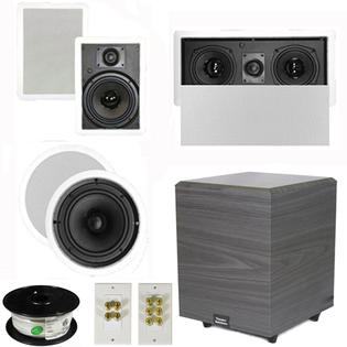 "Theater Solutions 5.1 Home Theater 8"" and 6.5"" Speakers, Center, 8"" Powered Sub and More TS6W8CL51SET2 at Sears.com"