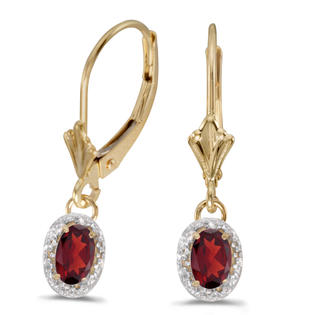 Direct-Jewelry 10k Yellow Gold Oval Garnet And Diamond Leverback Earrings at Sears.com
