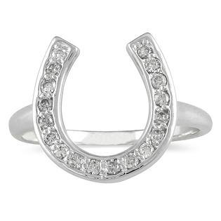szul.com Diamond Horseshoe Ring in 14k White Gold at Sears.com