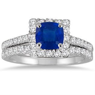 szul.com Cushion Cut Sapphire and Diamond Bridal Set in 14K White Gold
