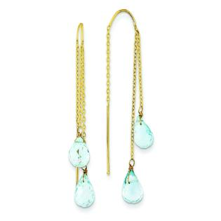 Findingking 14K Yellow Gold Blue Topaz Threader Earrings Jewelry at Sears.com