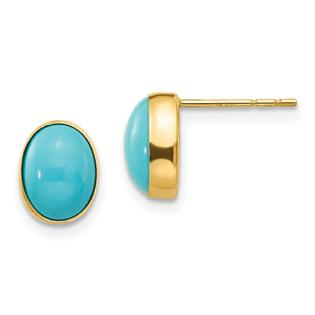 Findingking 14K Gold Bezel Set Oval Turquoise Stud Earrings at Sears.com
