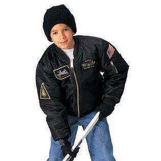 Rothco 7341 Kids Black Top Gun MA-1 Flight Jacket - X-Small at Sears.com