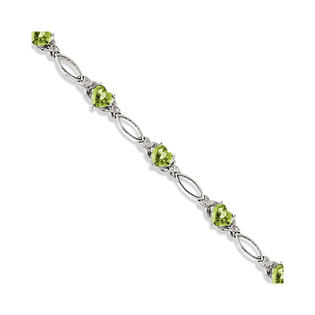 Allurez Heart Shaped Peridot and Diamond Link Bracelet 14k White Gold (3.00ctw) at Sears.com