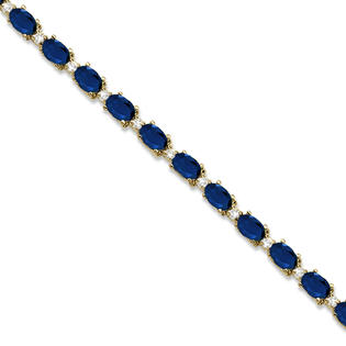 Allurez Blue Sapphire and Diamond Link Tennis Bracelet 14k Yellow Gold (12.00ct) at Sears.com