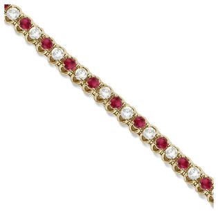 Allurez Round Ruby and Diamond Tennis Bracelet 14k Yellow Gold (4.75ct) at Sears.com
