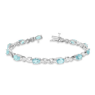 Allurez Aquamarine and Diamond XOXO Link Bracelet in 14k White Gold (6.65ct) at Sears.com