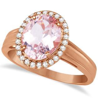 Allurez Diamond and Oval Pink Morganite Ring in 14K Rose Gold (2.43ct)