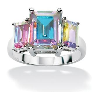 Palm Beach Jewelry Sterling Silver Aurora Borealis Cubic Zirconia Ring - Size: 7 at Sears.com