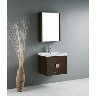 "Madeli Genova 24"" Wall Mounted Bathroom Vanity Set in Walnut - Finish and Overflow: Roman Cream Stone without Overflow at Sears.com"